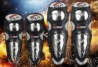 Aluminium Knee Elbow Shin Pad Armour Guard Motocross Motorcycle Bike Protection