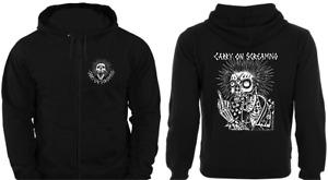 CARRY ON SCREAMING FULL ZIP HOODIE skull punk rock sweatshirt jumper tattoo