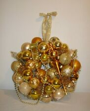 Vintage Ornament Christmas Wreath Holiday Kitsch Gold