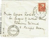 Pitcairn Island 1944 incoming cover from New Zealand, censored