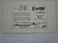 6/1953 PUB PAL PHILIPPINE AIR LINES DC-6 ORIENT STAR ORIGINAL AD