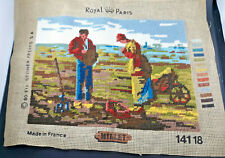 """Royal Paris """"The Angelus"""" by Millet Completed Needlepoint,"""