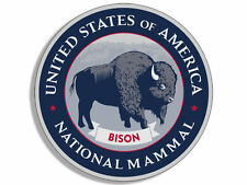 "4"" united states of america national mammal bison seal sticker decal"