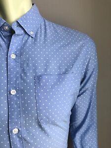 Bonobos Shirt, Sky Blue & Polka Dots, Medium, Slim Fit, Exc Condition