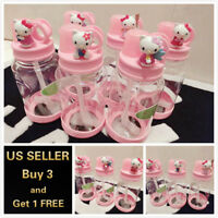 20oz 3D Girl's Pink Hello Kitty Drinking Water Bottle Cup Sports Work BPA Free