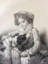 Greuze les deux amis XVIIIe Lassalle lithographie de Godard circa 1860 chien