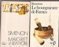 Lot de 2 livres de Simenon : Maigret à New-York + Le bourgmestre de Furnes