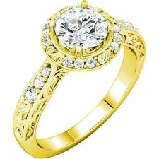1.27 carat total Round Diamond Halo Engagement 14k Yellow Gold Ring G color