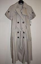 STUNNING ZARA BEIGE CREAM LONG TRENCH COAT DRESS MAC SHORT SLEEVE JACKET 8