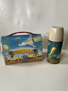 Vintage Thermos Domed Space Moon Landing Lunch Box Rockets Astronauts w/ THERMOS