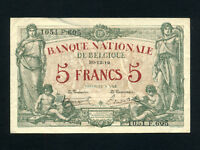 Belgium:P-75b,5 Francs,1919 * Allegorical Figures * VF *