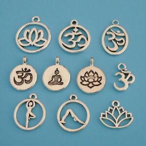 10 x Tibetan Silver Tone Aum Om Symbol Yoga Charms Pendants Beads