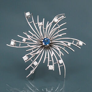 Brooch - Sapphire Approx. 0,5 CT - 11 Diamonds 0,75 - IN 18K White Gold - 14,1g