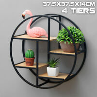 Retro Industrial Floating Round Wood Metal Wall Shelf Rack Storage Home Decor
