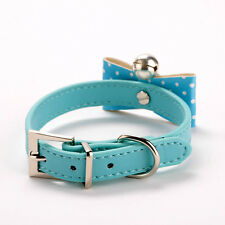 Pet Collar Bell Cats Buckle Lovely PU Leather Cute Dogs Collar Size M Blue Color