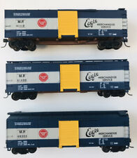 3 car set HO Scale Missouri Pacific Merchandise Service 40' Box Cars by Walthers