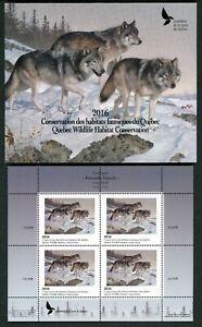 Quebec #29M 2016 Gris Loup Conservation Mini Feuille De 4 IN Dossier