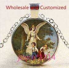 Guardian Angel Cabochon Tibetan silver Glass Chain Pendant Necklace #5018
