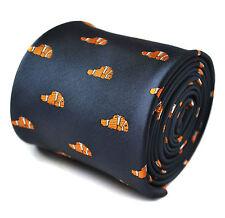 Frederick Thomas Diseñador para Hombre Tie-Azul Marino Oscuro-bordado naranja pez