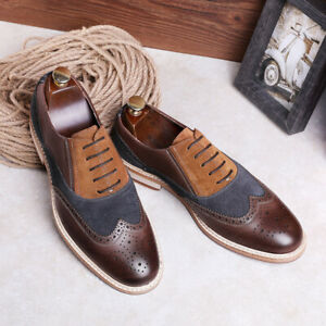 Retro Mens Formal Leather Pointed Toe Oxford Shoes Lace Up Business Dress Shoes