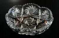 ABP American Brilliant Cut Glass Crystal Shallow Bowl Buzz Stars 8""