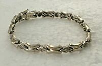 "Vtg 925 Solid Sterling Silver X & O Panel Link 7.5 "" Bracelet Love Kisses Hugs"