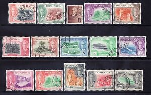 DOMINICA George VI 1951 SG120/34 set of 15 - fine used. Catalogue £100