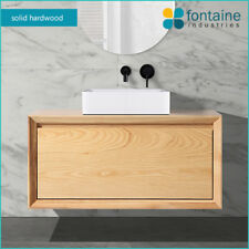 Manhattan 900 Solid Ash Wood Timber Wall Mounted Hung Vanity Modern Hardwood