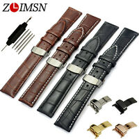Genuine Leather Watch Band Strap Metal Butterfly Clasp 18 19 20 21 22 23 24 26mm