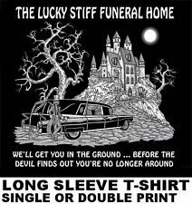FUNERAL HOME WE'LL BURY YOU BEFORE THE DEVIL CAN GET YOU HEARSE SKULL T-SHIRT