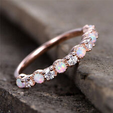 Elegant White Fire  Opal and Zircon Engagement Rings Rose Gold Wedding Band Gift