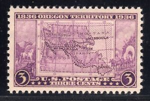 US STAMP #783 — 3c OREGON TERRITORY — VF-XF — MINT GRADE 85