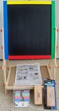 Kids Wooden Easel Double-Sided Drawing Board Whiteboard & Chalkboard + Erasers