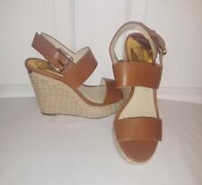 Michael Kors Brown Leather Espadrille Platform Wedges Strappy Wedge Sandals 7 M