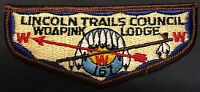 WOAPINK OA LODGE 167 LINCOLN TRAILS COUNCIL IL OLD CLOTH BACK  SERVICE FLAP