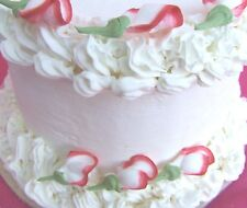 "48 - 1 1/4""  Red/White  Rosebuds Sugar Icing Flowers Cupcake Cake Toppers"