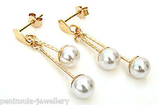 9ct Gold 5mm Pearl Drop earrings Made in UK Gift Boxed