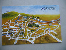VINTAGE  POSTCARD  NORWICH CARTOON MAP