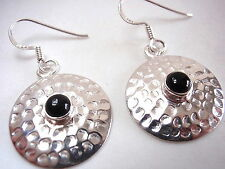 Natural Black Onyx Hammered Circle 925 Sterling Silver Dangle Earrings New round
