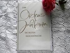 Elegante Glückwunschkarte Ordensjubiläum Weiss Gold Prägemuster Hochwertig
