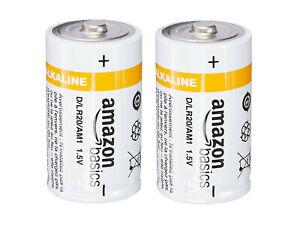 AmazonBasics Batterie alcaline Torcia Tipo D LR20 AM1 di qualita' 2 pezzi