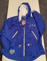 Vintage USA East West Hooded Windbreaker Jacket w/Nautical Accents Size L Blue