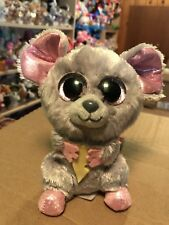 """Ty SQUEAKER -Grey Mouse w/Cheese 6"""" Beanie Boo! *Retired* RARE & VHTF!!"""