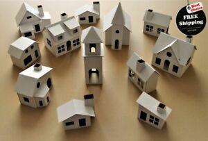 Pack of 12 DIY Putz style glitter houses, Unassembled corrugated cardboard house