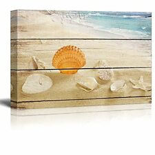 [Framed] Beach Seashells Vintage Wood Wall Art Prints Canvas Picture Home Decor