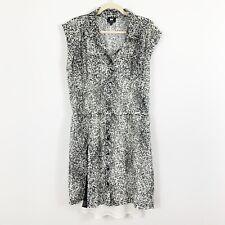 NEW W By WORTH Black Off White Animal Print Dress Size 14 Button Front Tie Waist