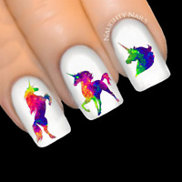 UNICORN Galaxy - INTENSE Rainbow Silhouette Nail Water Transfer Decal Sticker Ar
