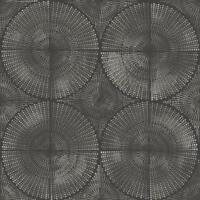 Wallpaper Designer Modern Silver Gray Circle Medallion Burst on Black