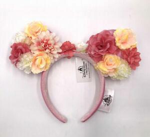 Disney Parks Crown Flower Minnie Ears Peach & Pink Floral Limited Headband