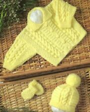 Knitting Pattern Baby's  5 Ply Cable Cardigan, Hat & Mitts Set  30-51 cm  (186)